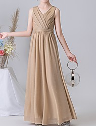 cheap -A-Line V Neck Ankle Length POLY Junior Bridesmaid Dress with Ruching
