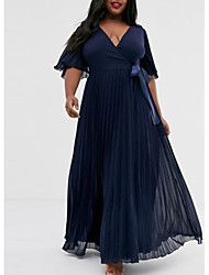 cheap -A-Line V Neck Floor Length Chiffon Plus Size Prom / Formal Evening / Wedding Guest Dress with Bow(s) / Pleats 2020