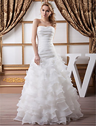 cheap -A-Line Wedding Dresses Strapless Floor Length Organza Satin Strapless with Ruched Cascading Ruffles 2020