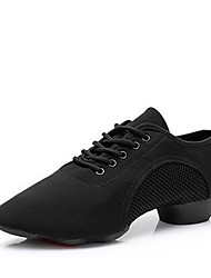 cheap -Women's Jazz Shoes Canvas Lace-up Heel Thick Heel Customizable Dance Shoes Black