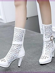 cheap -Women's Boots Knee High Boots Cone Heel Round Toe Synthetics Knee High Boots Fashion Boots Fall & Winter Black / White / Party & Evening