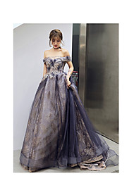 cheap -A-Line Elegant Sparkle Wedding Guest Prom Formal Evening Dress Off Shoulder Sleeveless Court Train Satin Tulle Sequined with Appliques 2020