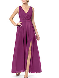 cheap -A-Line Plunging Neck Ankle Length Chiffon Bridesmaid Dress with Split Front / Ruching / Open Back