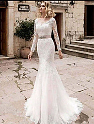cheap -Mermaid / Trumpet Jewel Neck Court Train Lace / Tulle / Lace Over Satin Long Sleeve Plus Size / Illusion Sleeve Wedding Dresses with Appliques 2020