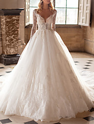 cheap -A-Line Wedding Dresses V Neck Court Train Lace Tulle Long Sleeve Plus Size Illusion Sleeve with 2020