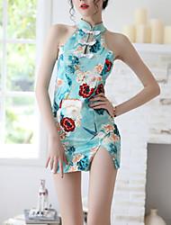 cheap -Women's Split / Print Babydoll & Slips / Gartered Lingerie / Uniforms & Cheongsams Nightwear Floral Green S M L