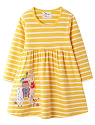 cheap -Kids Girls' Striped Dress Yellow