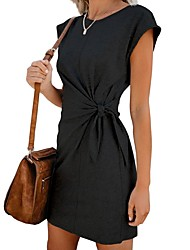 cheap -Women's Sheath Dress - Solid Colored Black Wine Blushing Pink S M L XL