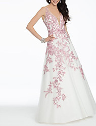 cheap -A-Line Plunging Neck Floor Length Satin Open Back Prom / Formal Evening Dress with Embroidery 2020