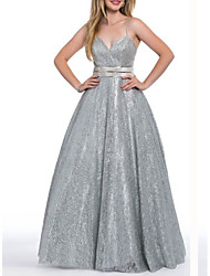 cheap -A-Line Spaghetti Strap Sweep / Brush Train Sequined Open Back Prom / Formal Evening Dress with Sequin 2020