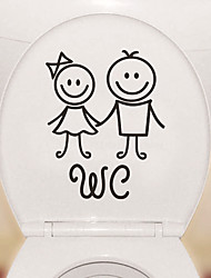 cheap -Cartoon Cute Toilet Stickers - People Wall Stickers Shapes Bathroom 13*17cm