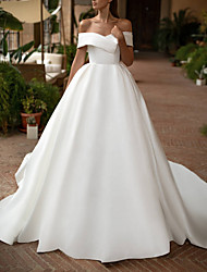cheap -A-Line Off Shoulder Court Train Satin Short Sleeve Plus Size Wedding Dresses with 2020