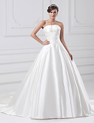 cheap -Ball Gown Strapless Court Train Satin Strapless Plus Size Wedding Dresses with Ruched / Draping 2020
