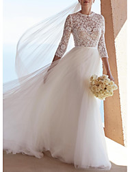 cheap -A-Line Wedding Dresses Jewel Neck Sweep / Brush Train Lace Tulle 3/4 Length Sleeve Plus Size Illusion Sleeve with Bow(s) 2020