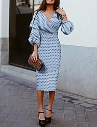 cheap -Women's A Line Dress Midi Dress Blue 3/4 Length Sleeve Polka Dot Spring & Summer V Neck Hot 2021 S M L XL