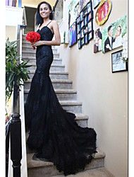 cheap -Mermaid / Trumpet Wedding Dresses Sweetheart Neckline Chapel Train Lace Satin Tulle Spaghetti Strap Black with Appliques 2020