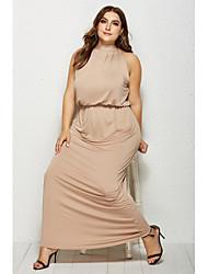cheap -Sheath / Column Minimalist Plus Size Holiday Party Wear Dress High Neck Sleeveless Floor Length Spandex with Sleek 2020