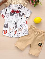 Недорогие -малыш Мальчики Классический Белый / Синий С принтом С принтом С короткими рукавами Обычный Обычная Набор одежды Белый