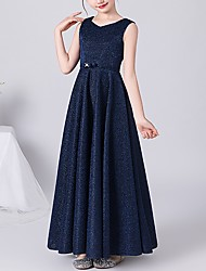cheap -A-Line V Neck Ankle Length POLY Junior Bridesmaid Dress with Sash / Ribbon