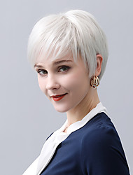 cheap -Human Hair Wig Short Straight Natural Straight Pixie Cut Layered Haircut Asymmetrical Side Part Black Brown Fashionable Design Cool Fashion Capless Women's All Chestnut Brown Medium Auburn Dark Wine