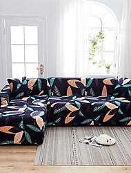abordables -feuilles imprimer housses étanches tout-puissant housse de canapé en forme de L extensible housse de canapé en tissu super doux avec une taie d'oreiller gratuite