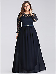 cheap -A-Line Mother of the Bride Dress Vintage Plus Size Jewel Neck Floor Length Chiffon Long Sleeve with Lace 2020 / Illusion Sleeve