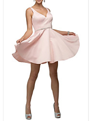 cheap -A-Line V Neck Mini Charmeuse Bridesmaid Dress with Ruching