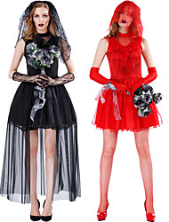 cheap -Ghostly Bride Dress Cosplay Costume Adults' Men's Cosplay Halloween Halloween Festival / Holiday Spandex Polyester Black / Red Men's Women's Carnival Costumes