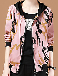 cheap -Women's Daily Spring &  Fall Short Kimono Jacket, Geometric Hooded Long Sleeve Polyester Blushing Pink