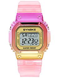 Недорогие -SYNOKE электронные часы Цифровой Спортивные Стильные силиконовый 30 m Защита от влаги Календарь ЖК экран Цифровой На открытом воздухе Мода - Розовое золото Лиловый Синий