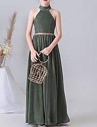 cheap -A-Line Halter Neck Floor Length POLY Junior Bridesmaid Dress with Sash / Ribbon