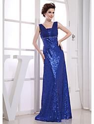 cheap -Sheath / Column Sparkle Wedding Guest Engagement Formal Evening Dress V Neck Sleeveless Floor Length Chiffon Sequined with Beading 2021