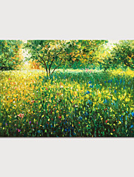 cheap -Oil Painting Hand Painted Landscape Floral / Botanical Modern Rolled Canvas Rolled Without Frame
