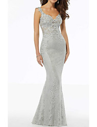 cheap -Mermaid / Trumpet V Neck Floor Length Lace Sleeveless Elegant Mother of the Bride Dress with Lace / Appliques 2020