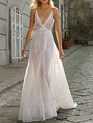 cheap -A-Line V Neck Sweep / Brush Train Tulle Spaghetti Strap Boho Plus Size Wedding Dresses with Crystals 2020