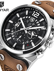 cheap -BENYAR Men's Dress Watch Quartz Formal Style Stylish Genuine Leather 30 m Water Resistant / Waterproof Hollow Engraving Three Time Zones Analog Luxury Fashion - Silver+Orange Black / Yellow Black