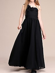 cheap -A-Line One Shoulder Ankle Length Chiffon Junior Bridesmaid Dress with Appliques / Ruching