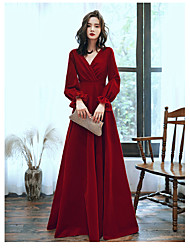 cheap -A-Line Elegant Wedding Guest Prom Formal Evening Dress V Neck Long Sleeve Floor Length Satin Jersey with 2020