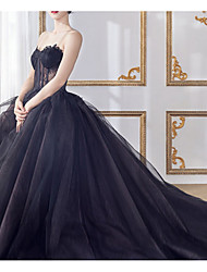 cheap -A-Line Sweetheart Neckline Court Train Lace / Tulle Strapless Formal Black Wedding Dresses with Lace Insert 2020