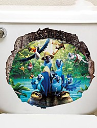 cheap -Cartoon Parrot Toilet Stickers - Animal Wall Stickers Landscape / Animals Bathroom / Indoor