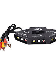 cheap -LITBest 3-Way Audio Video AV RCA Splitter Black Switch Selector Box Splitter with/3 RCA Cable