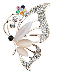 cheap -Women's Cubic Zirconia Brooches Hollow Out Butterfly Stylish Brooch Jewelry Golden For Daily Work