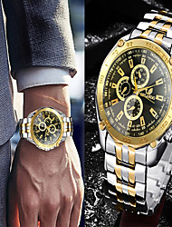cheap -Men's Steel Band Watches Analog Quartz Luxury Fake Three Eyes Six Needles Casual Watch Cool
