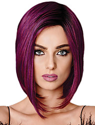 cheap -Synthetic Wig Straight Bob Wig Short Purple Synthetic Hair 11 inch Women's Best Quality Purple