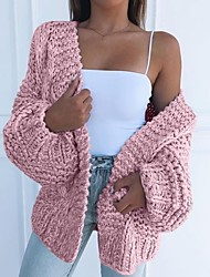 cheap -Women's Solid Colored Long Sleeve Loose Cardigan Sweater Jumper, V Neck Black / Blushing Pink / Brown S / M / L