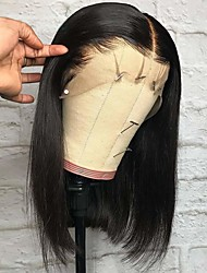 cheap -Remy Human Hair Lace Front Wig Deep Parting style Brazilian Hair Yaki Straight Natural Wig 150% Density with Baby Hair Adjustable Thick Natural Hairline Women's Short Human Hair Lace Wig Premierwigs