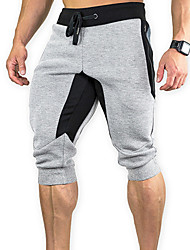 cheap -Men's Running Cropped Pants Running Capri Pants Athletic Pants / Trousers Capris Patchwork Cotton Fitness Running Jogging Breathable Quick Dry Soft Sport Dark Grey Black Burgundy Blue Light Gray