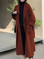 cheap -Women's Daily Fall & Winter Long Coat, Solid Colored Notch Lapel Long Sleeve Polyester Black / Red / Beige / Loose