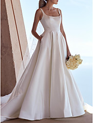 cheap -A-Line Square Neck Sweep / Brush Train Satin Spaghetti Strap Plus Size / Elegant Wedding Dresses with Buttons 2020