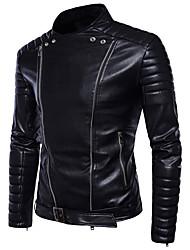 abordables -Homme Soirée / Sports Printemps été / Automne hiver Normal Veste de cuir, Couleur Pleine Mao Manches Longues Polyuréthane Noir